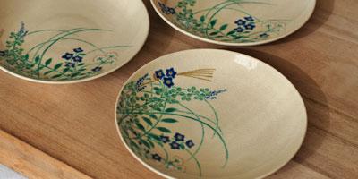 京焼 秋草文4寸皿