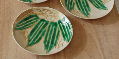 京焼 笹文4寸皿
