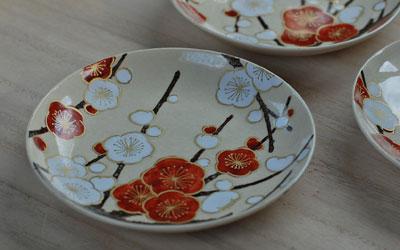 京焼 紅白梅文4寸皿