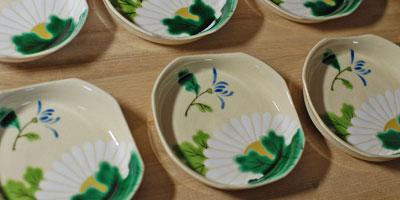 京焼 四方小皿菊